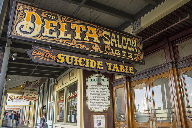 See the Suicide Table at the Delta Saloon in Virginia City, Nevada