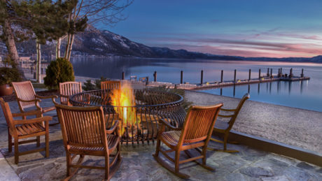 Hyatt Lake Tahoe fire pit on beach