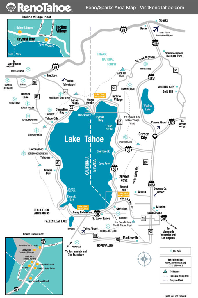 Map of Lake Tahoe area