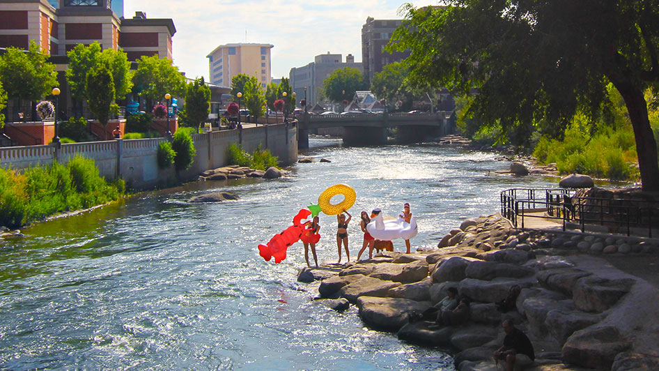 Floating the Truckee River Downtown Reno