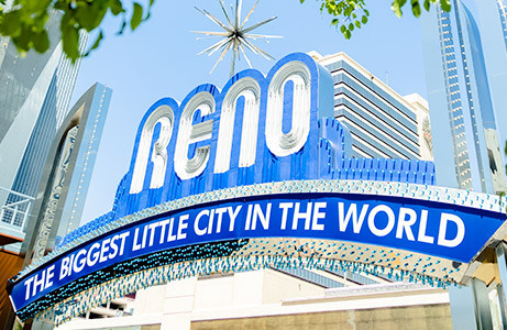 The Biggest Little City Sign near a Reno brewery