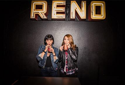 Two people enjoying a Reno Brewery