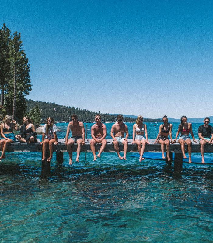 Friends on Lake Tahoe Dock