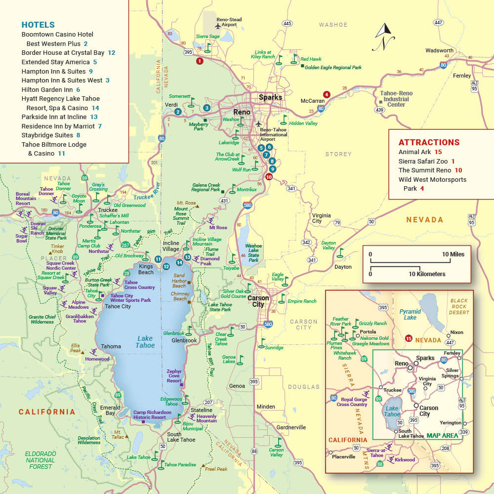 Map of Reno and Lake Tahoe